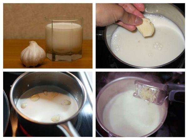 чеснок в молоке